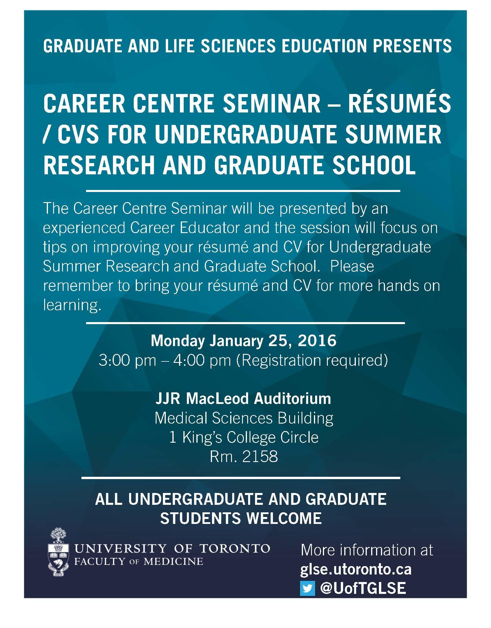 glse career centre seminar r eacute sum eacute and cv for undergraduate glse resume and cv career seminar