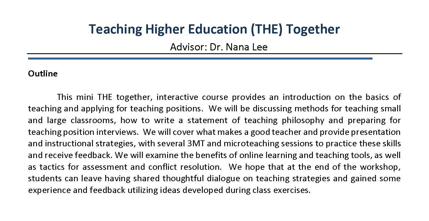 Teaching in Higher Education Together